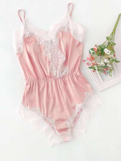 Lace Trim Surplice Front Sleep Bodysuit