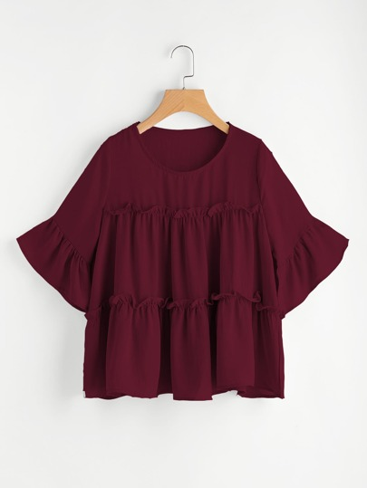Tiered Flounce Trim Flute Sleeve Blouse