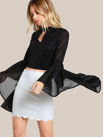 Front Keyhole Trumpet Sleeve Crop Top BLACK