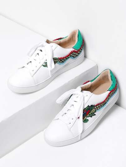 Dragon Embroidery Lace Up Sneakers
