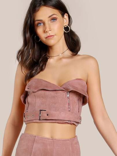 Faux Suede Strapless Crop Top BLUSH