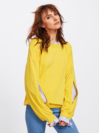 Drop Shoulder Split Sleeve 2 In 1 Pullover
