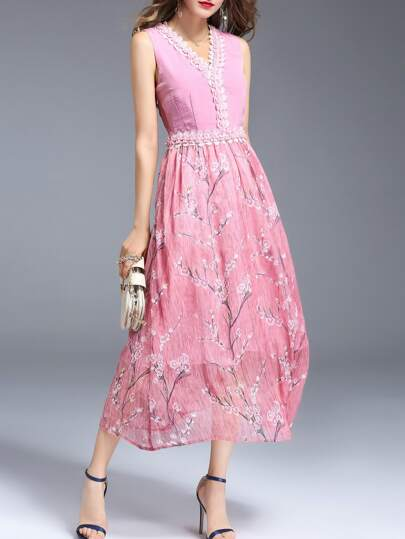 V Neck Flowers Applique Floral Dress