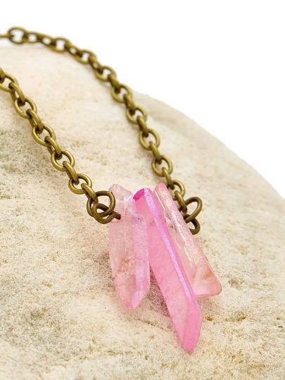 Collier de chaîne creux avec pendentif de cristal