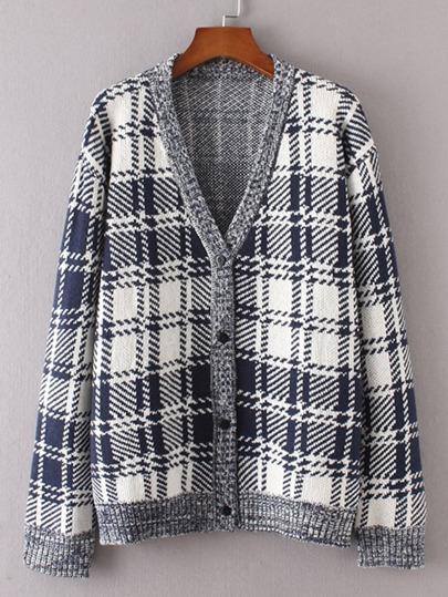 Suéter de guingán de canalé con botones