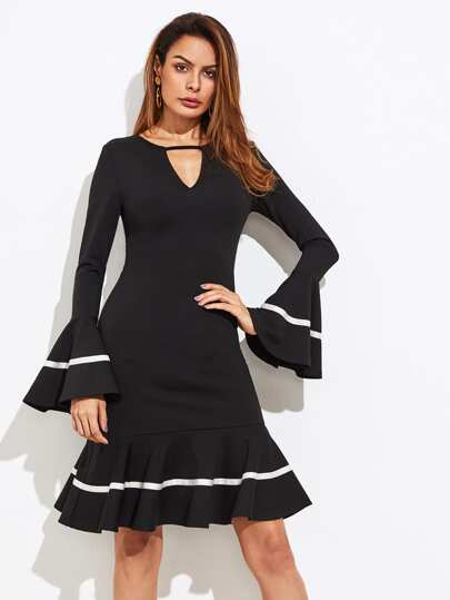 Keyhole Front Flute Sleeve Ribbon Tape Detail Dress