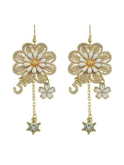 Lace Flower Digital Fashion Long Earrings