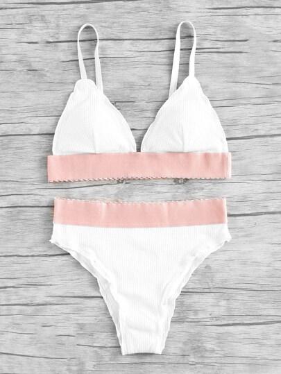 Contrast Band Ribbed Triangle Bikini Set