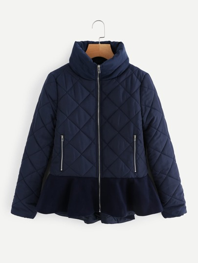 Stand Collar Ruffle Hem Quilted Coat