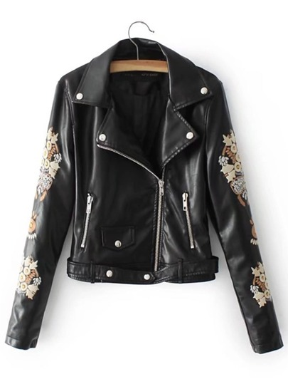 Embroidered Sleeve Faux Leather Moto Jacket