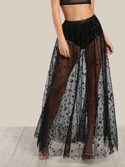 Star Flock Mesh Skirt