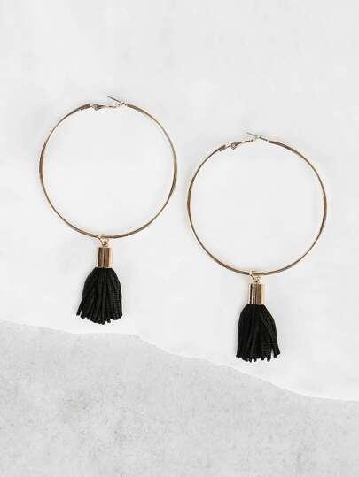 Tassel Accent Hoop Earrings BLACK