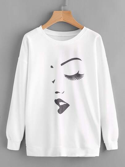 Graffiti Print Drop Shoulder Sweatshirt