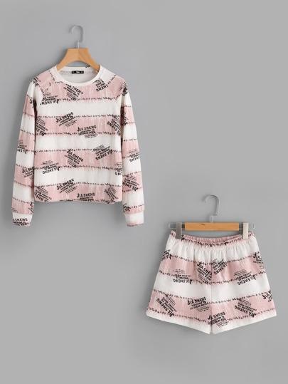 Letter Print Sweatshirt And Pocket Back Shorts Set
