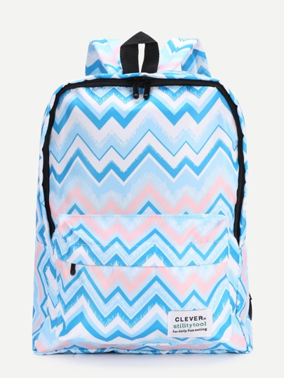 Chevron Print Nylon Backpack