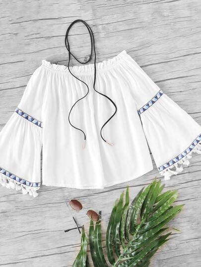 Embroidery Tape Detail Tassel Trim Frill Detail Bardot Top