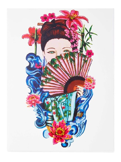 Beauty And Flower Tattoo Sticker