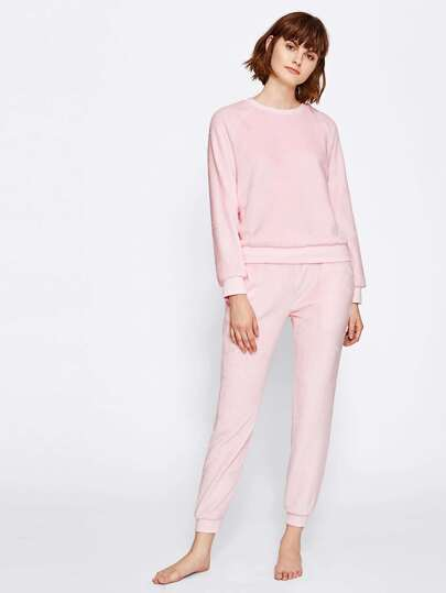 Fuzzy Pullover And Sweatpants Loungewear Set