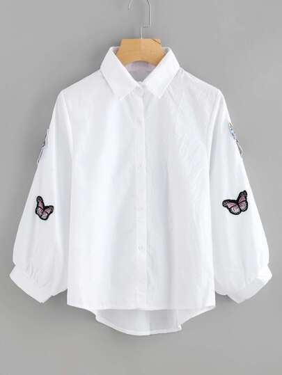 Butterfly Embroidered Appliques Lantern Sleeve Shirt