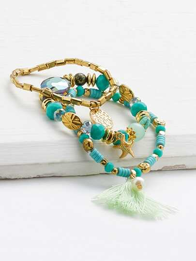 Tassel & Starfish Detail Bracelet Set 3pcs