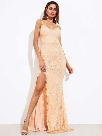 Eyelash Lace Overlay High Slit Cami Dress