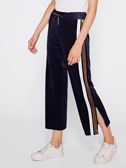 Samt Hosen mit Streifen auf den Seiten