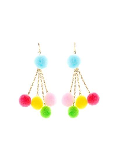 Cute Pom Pom Chain Drop Earrings
