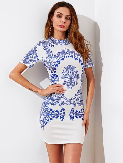 Mock Neck Porcelain Print Dress