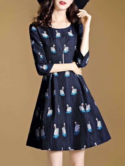 Swans Jacquard Pleated Dress