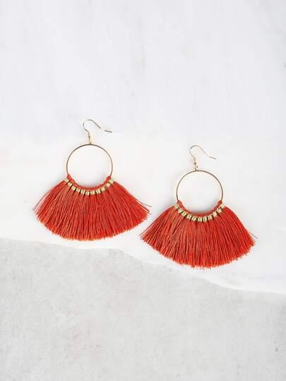 Multi Tassel Earrings ORANGE