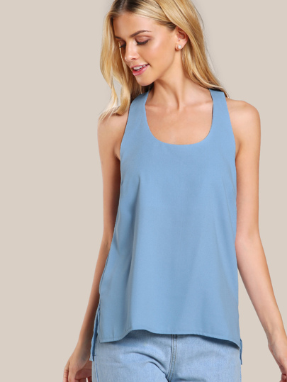 Sleeveless T-Back Top BLUE
