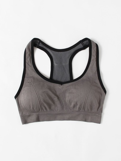Contrast Piping Racer Back Sports Bra