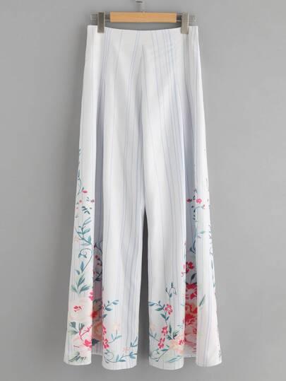 Pantalons imprimé des fleurs et des rayures avec des plis