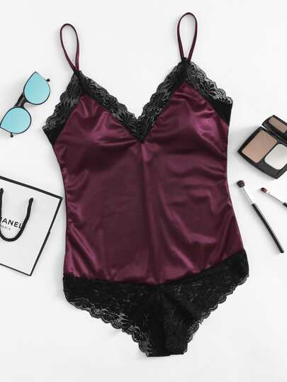 Lace Trim Cami Satin Bodysuit