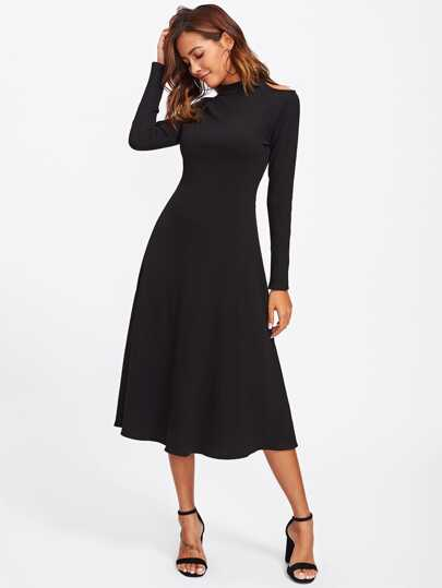 Cutout Shoulder Raglan Sleeve Ribbed Dress