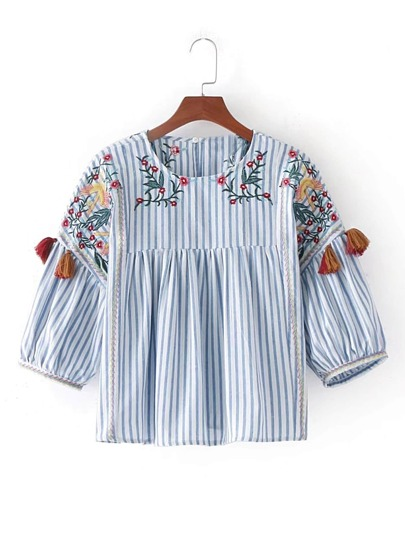 Vertical Striped Flower Embroidery Top With Fringe