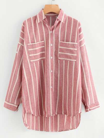 Striped Dip Hem Shirt With Chest Pocket