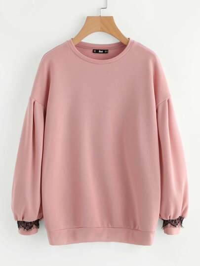 Drop Shoulder Lace Trim Bishop Sleeve Sweatshirt