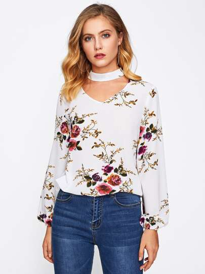 Dual V Cut Choker Neck Lantern Sleeve Floral Top