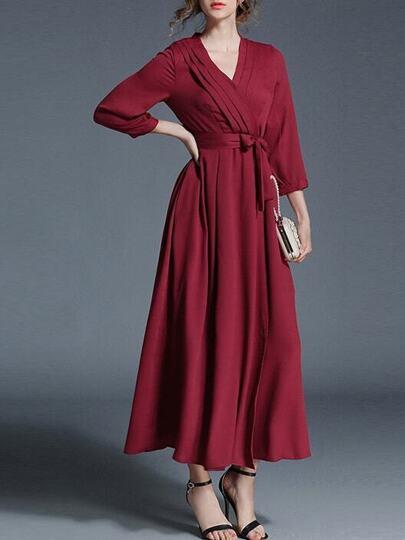 V Neck Pleated Tie-Waist Dress