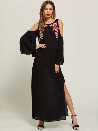 Symmetrical Embroidery Patch Bell Sleeve Slit Side Dress