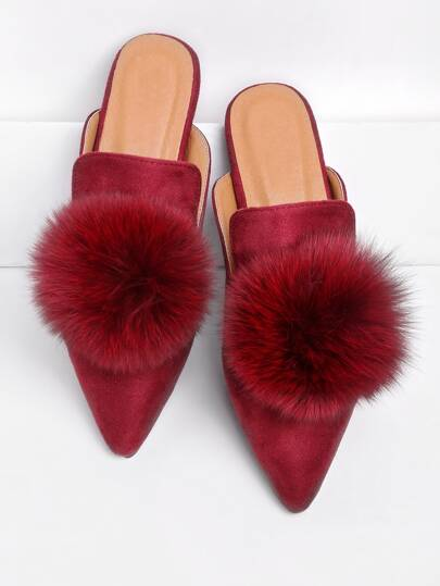 Pom Pom Decorated Pointed Toe Slippers