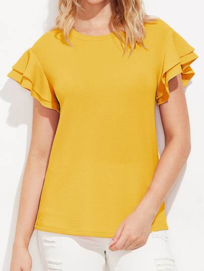 Layered Flutter Sleeve Textured Top