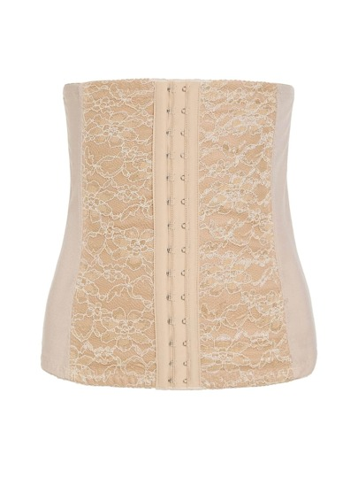 Hook Front Lace Panel Corset