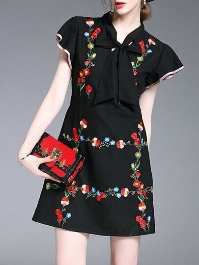 Tie Neck Flowers Embroidered Ruffle Sleeve Dress