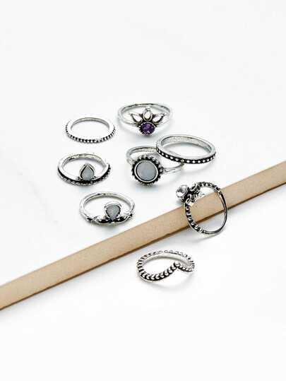 Ensemble d\'anneau avec diamant faux 8 pièces