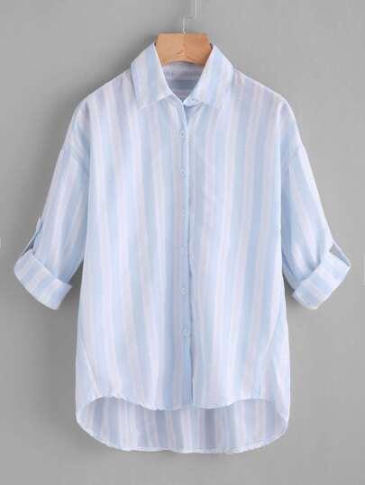 Contrast Striped Drop Shoulder Rolled Sleeve Shirt