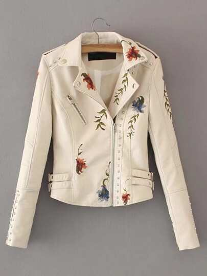 Embroidered Double Buckle Biker Jacket