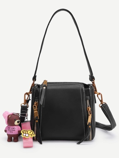 Bear Decorated PU Shoulder Bag With Handle