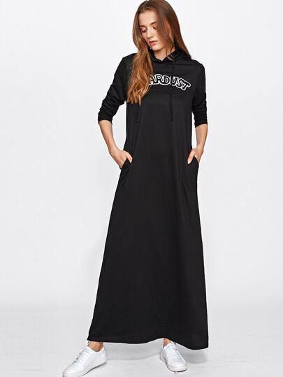 Модное макси платье с капюшоном и вышивкой